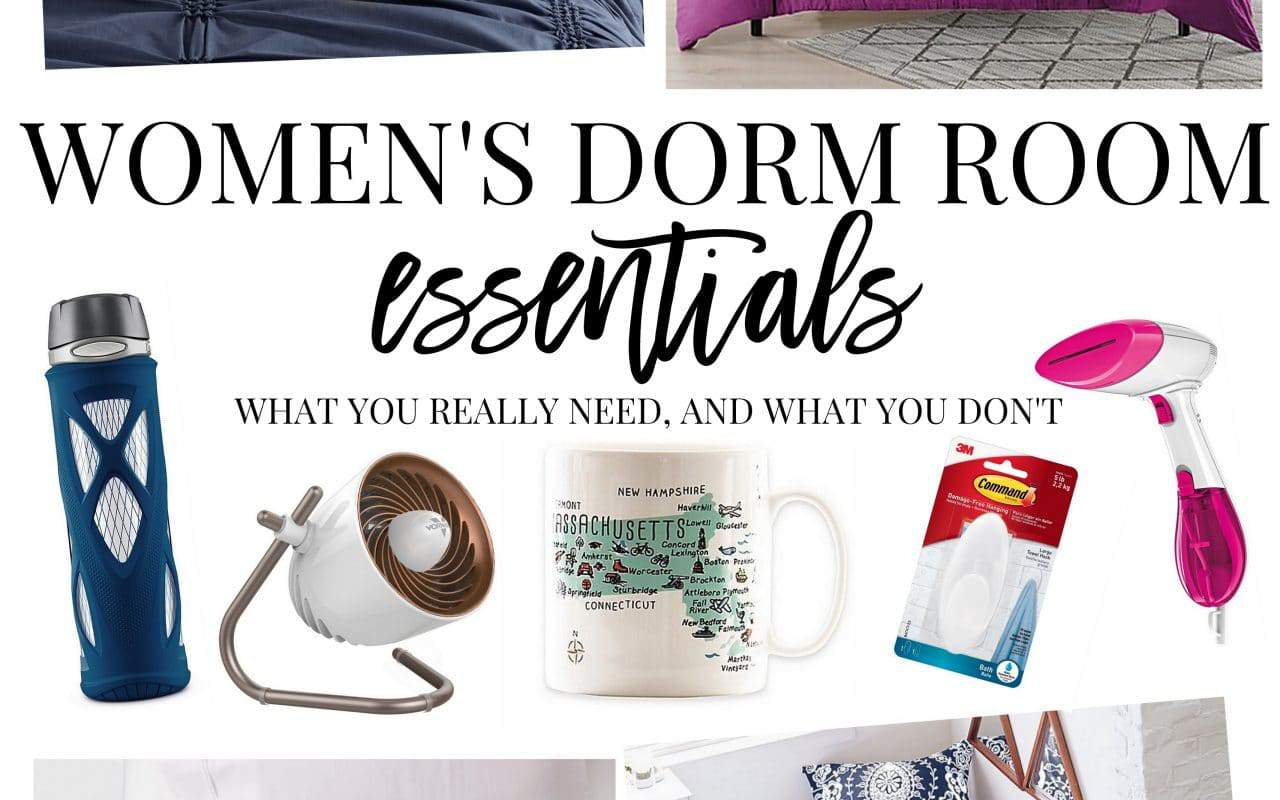 Women's guide to dorm room essentials and where to find them.