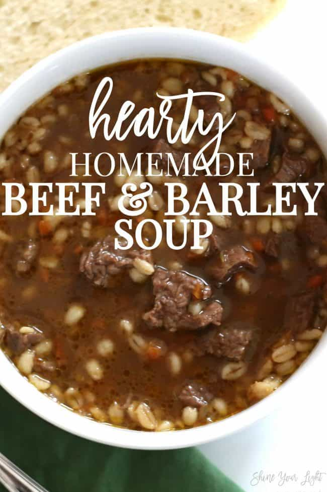Delicious and wholesome beef and barley soup with tender and flavorful steak and a rich broth.