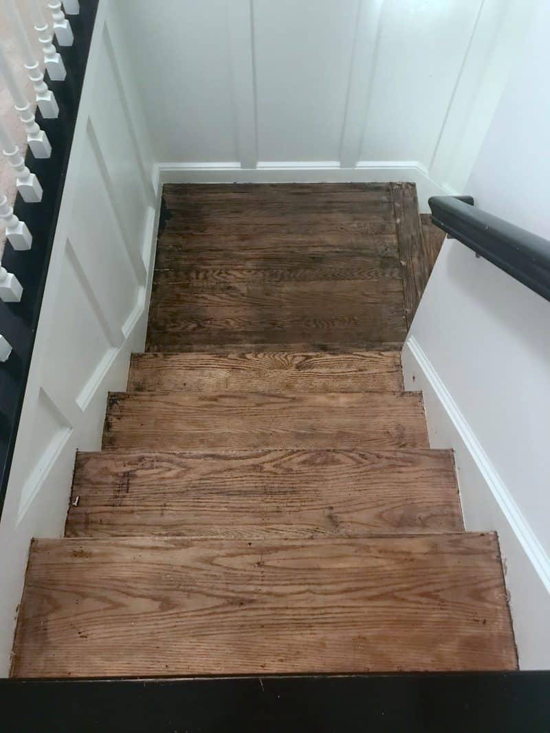Stripping the stain off stair treads