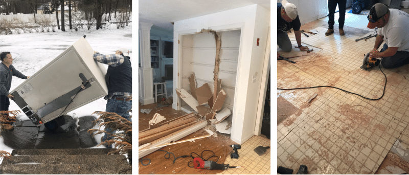Demolition of a kitchen