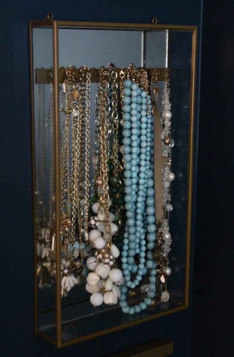 Mirror and Brass Wall Mounted Jewelry Box