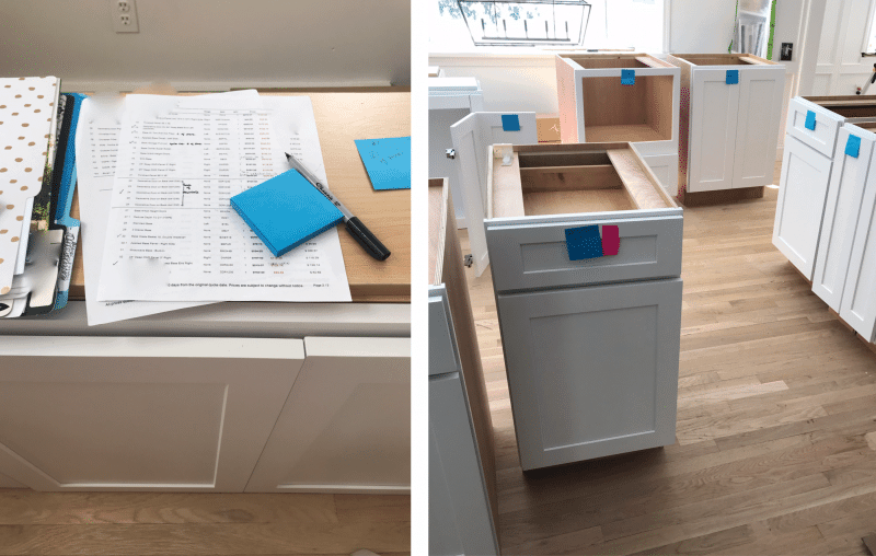 The process of unboxing and checking cabinets before installation