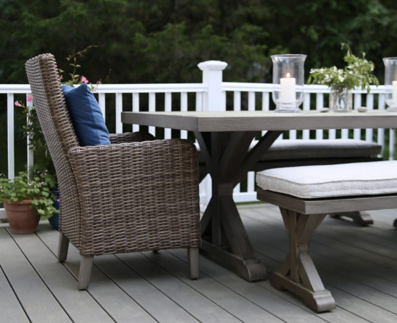 Deck dining table, bench and chairs from Raymour & Flanigan