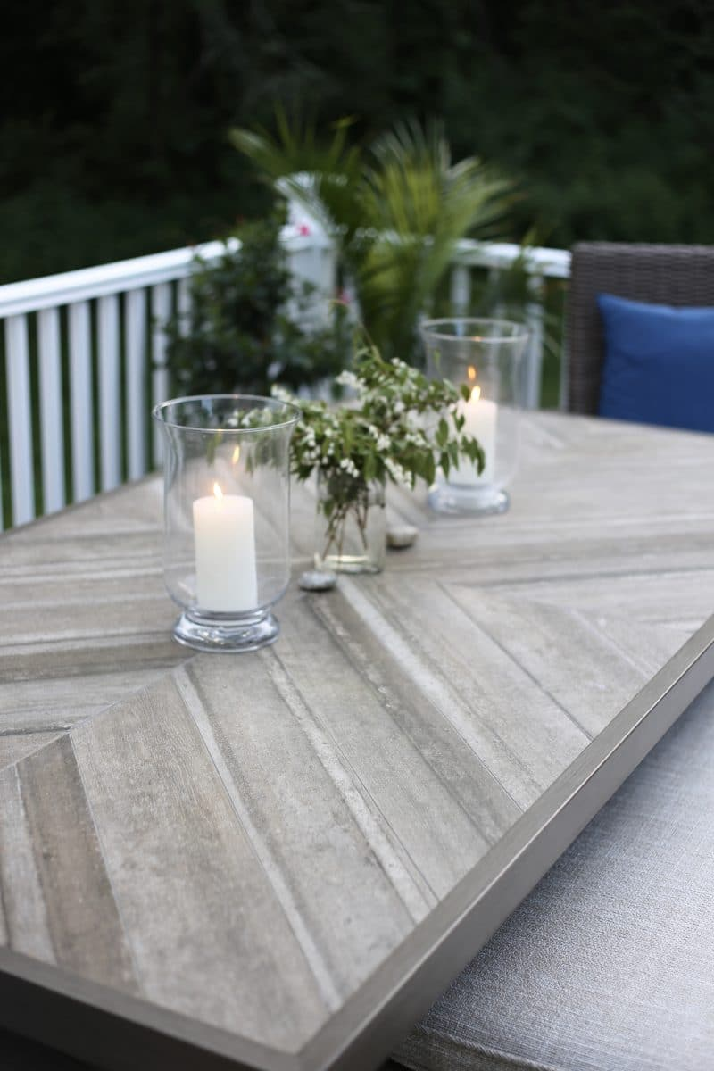 Neutral tile outdoor table top