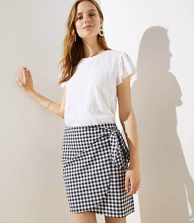 Navy and white side tie above the knee gingham skirt