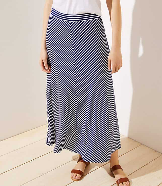 Lightweight blue and white chevron maxi skirt