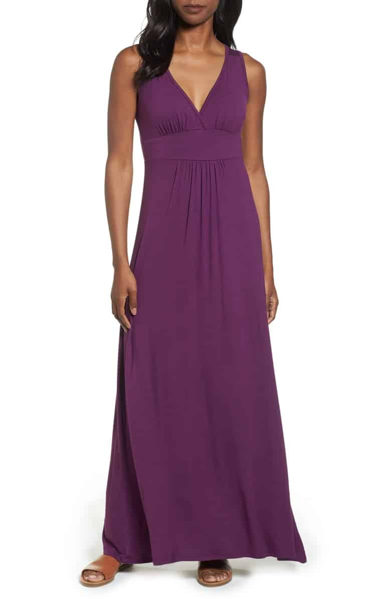 V neck maxi dress in jersey material