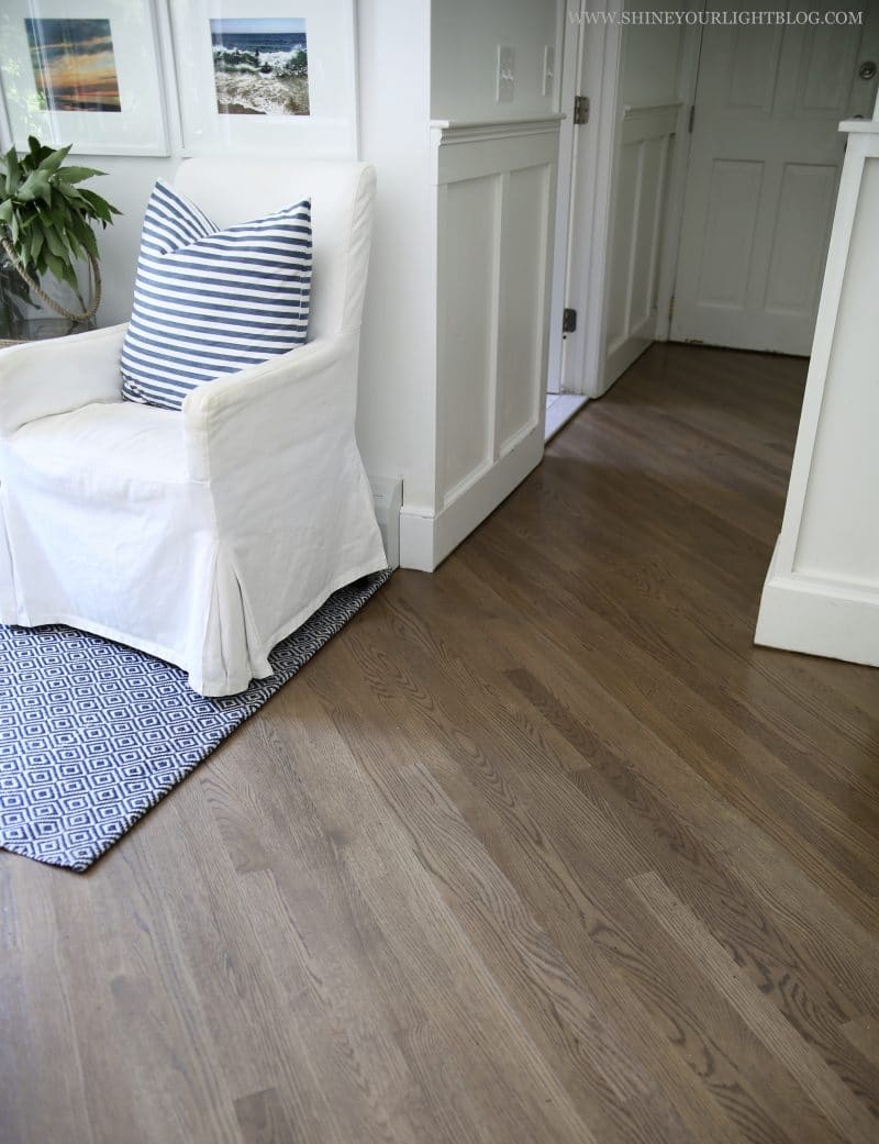 Diagonally laid stained white oak solid hardwood floors stained 50/50 Special Walnut and Classic Gray