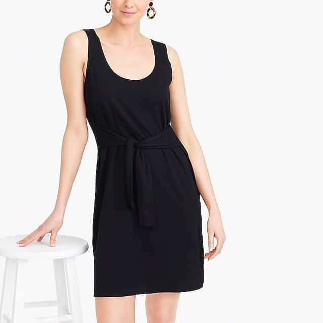 Tank top style tie front jersey dress