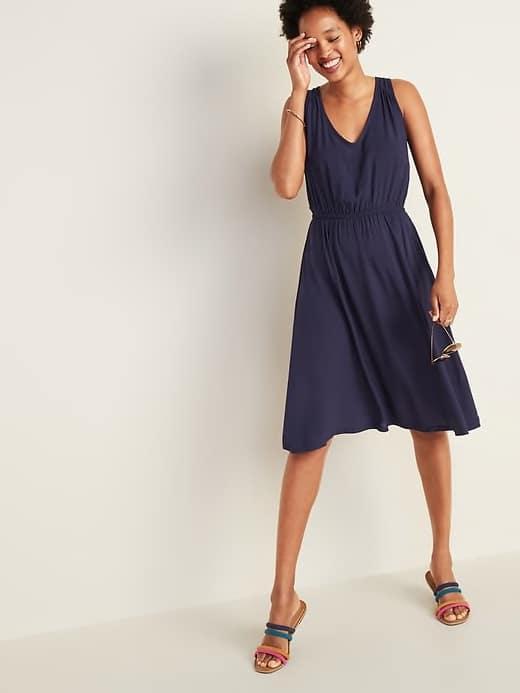 Lightweight v-neck knee length dress