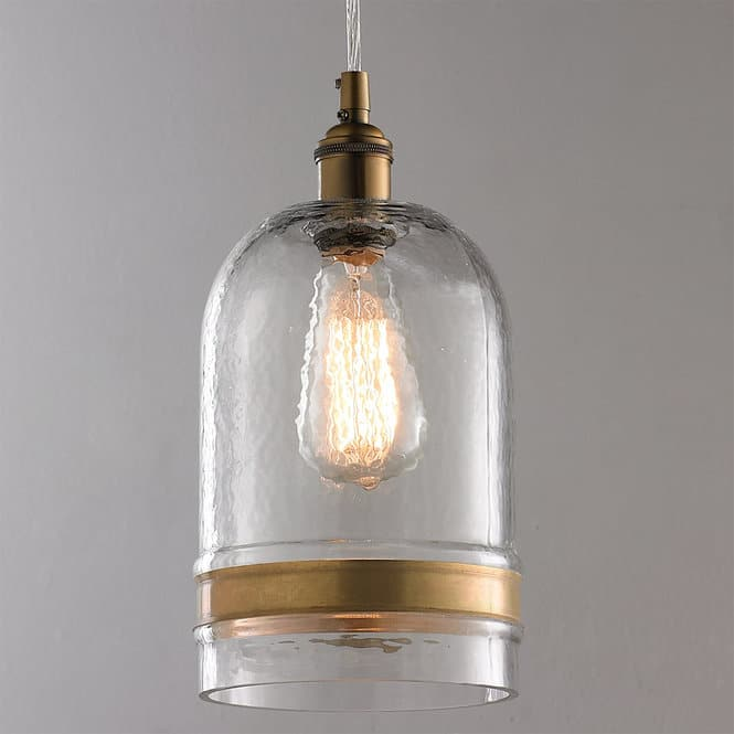 Banded Brass Water Glass Dome Pendant