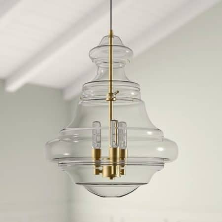 Glass and brass Edford Schoolhouse pendant light
