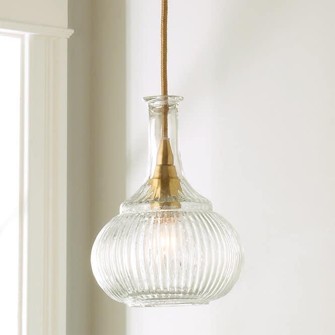 Ridged Glass Vase Pendant