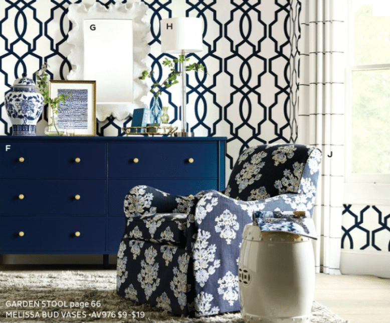 Navy dresser from Ballard Designs