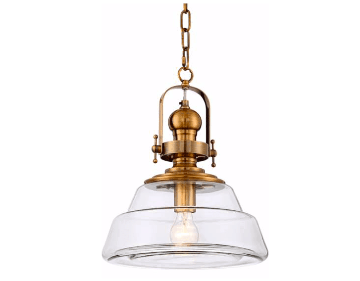 Donovan Wide Antique Brass and Glass Pendant