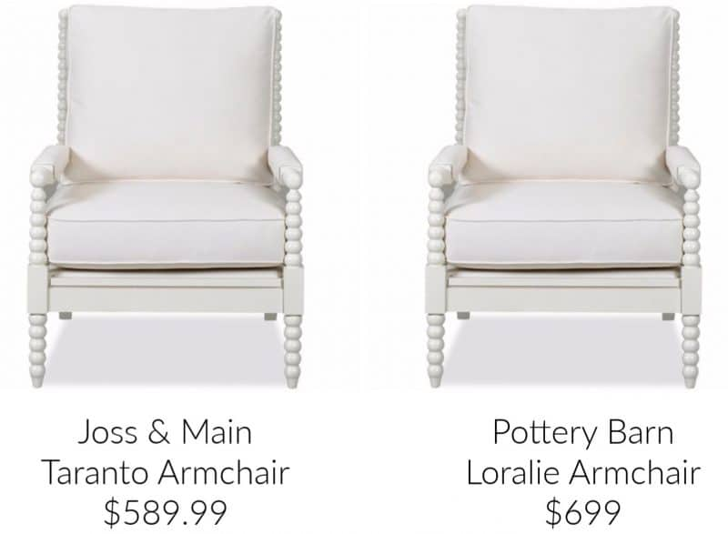 Comparison on identical spindle armchairs