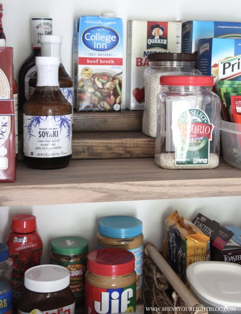 DIY pantry risers