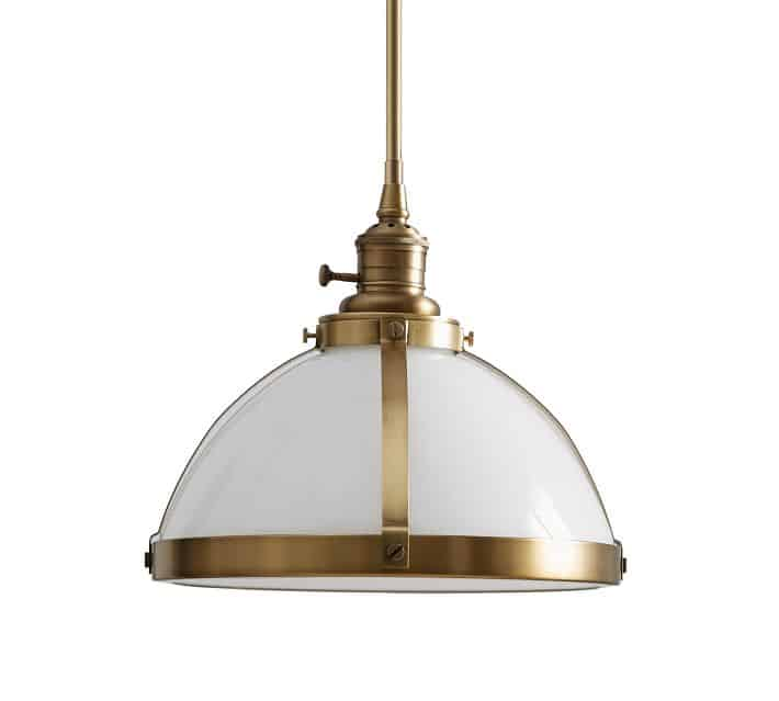 Classic Industrial Rod Pendant With Milk Glass