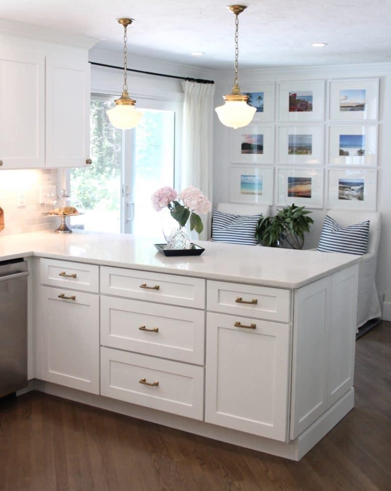 U shaped white kitchen remodel