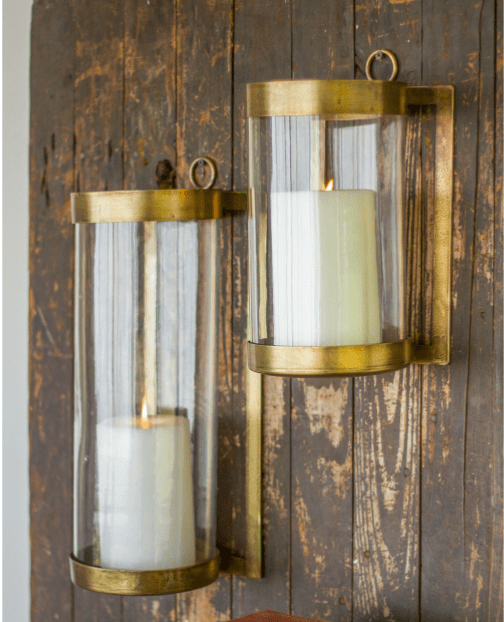 Glass and brass wall mounted candle hurricanes