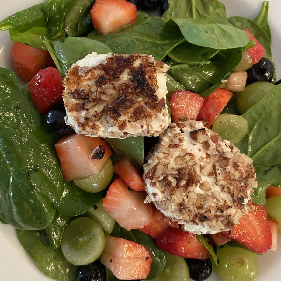 Spinach Fruit Salad With Warm Pecan Encrusted Goat Cheese