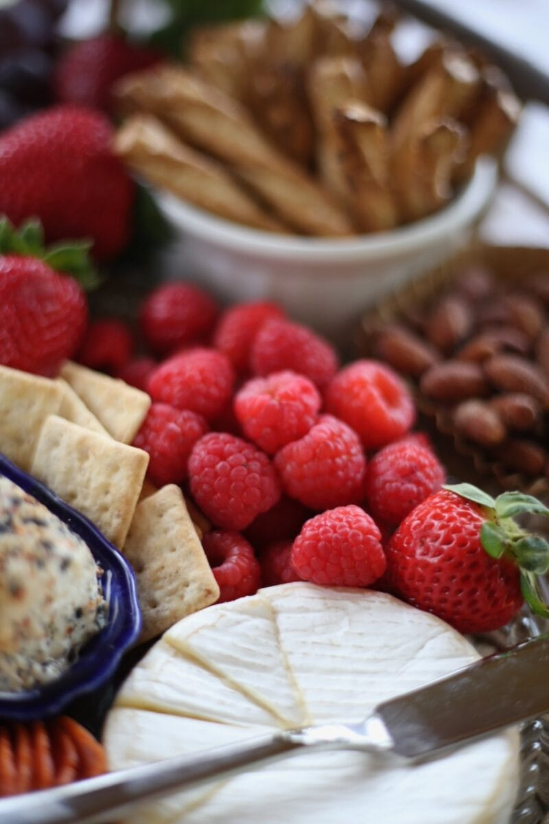 picnic tray of fruit and cheeses
