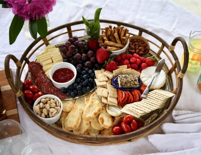 Snack tray of fruits cheeses