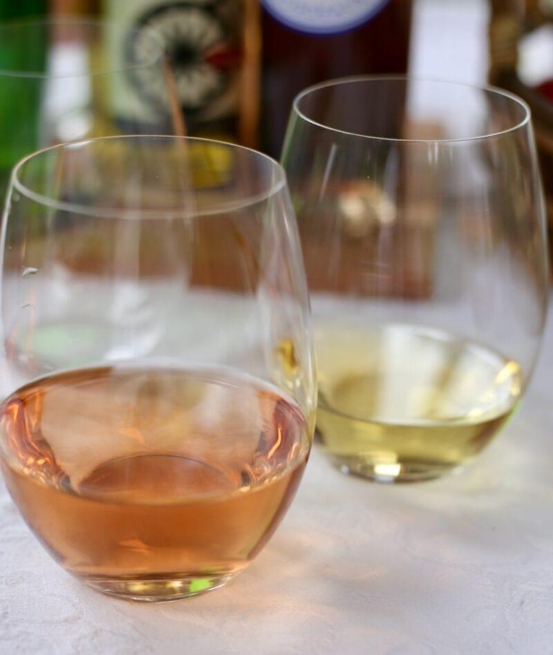 Rose and chardonnay at summer picnic
